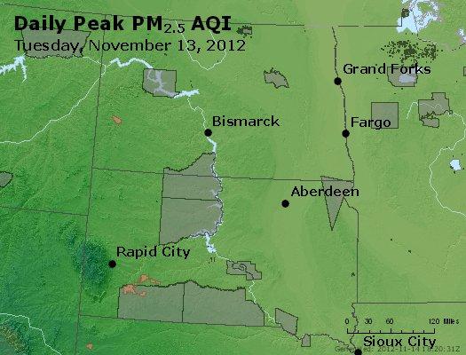 Peak Particles PM<sub>2.5</sub> (24-hour) - http://files.airnowtech.org/airnow/2012/20121113/peak_pm25_nd_sd.jpg