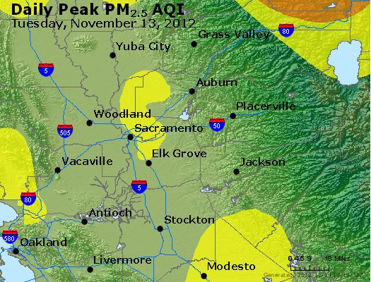 Peak Particles PM<sub>2.5</sub> (24-hour) - http://files.airnowtech.org/airnow/2012/20121113/peak_pm25_sacramento_ca.jpg