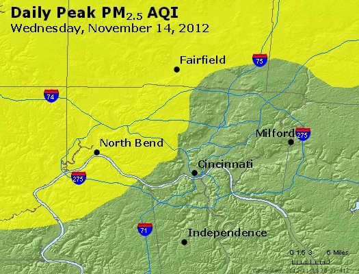 Peak Particles PM<sub>2.5</sub> (24-hour) - http://files.airnowtech.org/airnow/2012/20121114/peak_pm25_cincinnati_oh.jpg