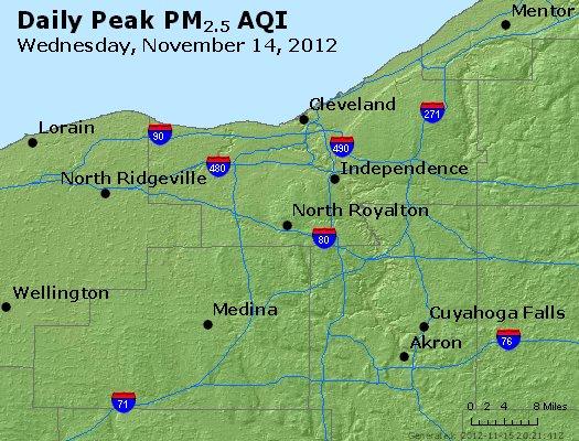 Peak Particles PM<sub>2.5</sub> (24-hour) - http://files.airnowtech.org/airnow/2012/20121114/peak_pm25_cleveland_oh.jpg