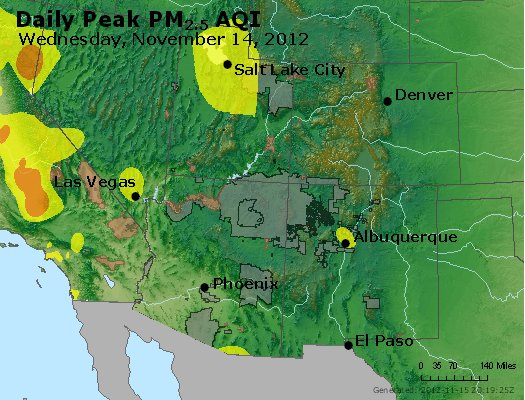 Peak Particles PM<sub>2.5</sub> (24-hour) - http://files.airnowtech.org/airnow/2012/20121114/peak_pm25_co_ut_az_nm.jpg
