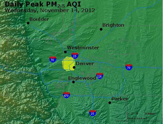 Peak Particles PM<sub>2.5</sub> (24-hour) - http://files.airnowtech.org/airnow/2012/20121114/peak_pm25_denver_co.jpg