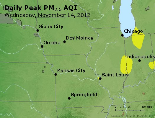 Peak Particles PM<sub>2.5</sub> (24-hour) - http://files.airnowtech.org/airnow/2012/20121114/peak_pm25_ia_il_mo.jpg