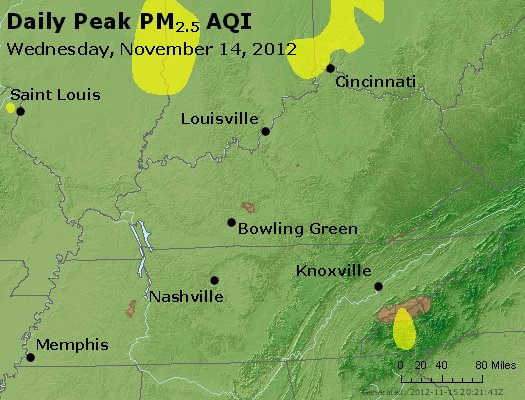 Peak Particles PM<sub>2.5</sub> (24-hour) - http://files.airnowtech.org/airnow/2012/20121114/peak_pm25_ky_tn.jpg