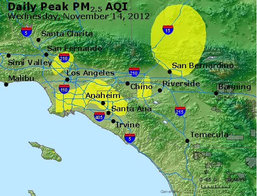 Peak Particles PM<sub>2.5</sub> (24-hour) - http://files.airnowtech.org/airnow/2012/20121114/peak_pm25_losangeles_ca.jpg