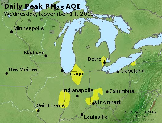 Peak Particles PM<sub>2.5</sub> (24-hour) - http://files.airnowtech.org/airnow/2012/20121114/peak_pm25_mi_in_oh.jpg
