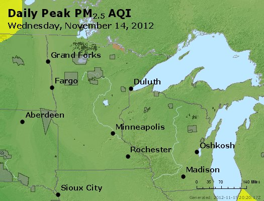 Peak Particles PM<sub>2.5</sub> (24-hour) - http://files.airnowtech.org/airnow/2012/20121114/peak_pm25_mn_wi.jpg