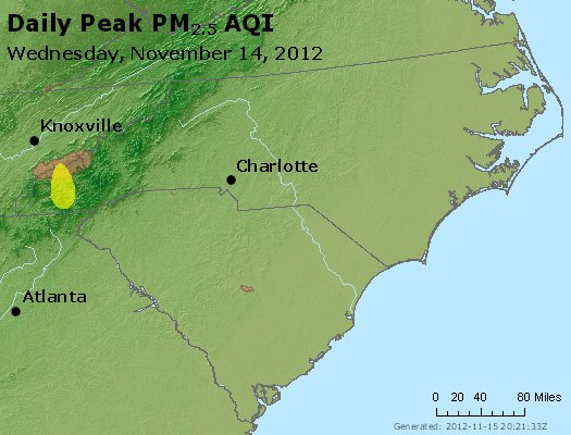 Peak Particles PM<sub>2.5</sub> (24-hour) - http://files.airnowtech.org/airnow/2012/20121114/peak_pm25_nc_sc.jpg