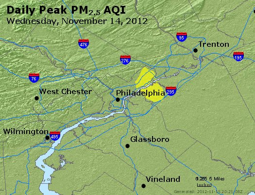 Peak Particles PM<sub>2.5</sub> (24-hour) - http://files.airnowtech.org/airnow/2012/20121114/peak_pm25_philadelphia_pa.jpg