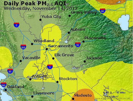 Peak Particles PM<sub>2.5</sub> (24-hour) - http://files.airnowtech.org/airnow/2012/20121114/peak_pm25_sacramento_ca.jpg