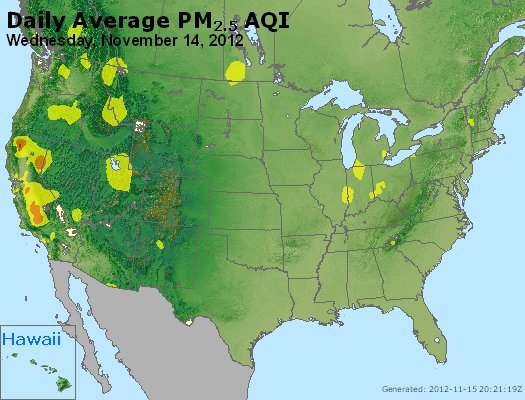 Peak Particles PM<sub>2.5</sub> (24-hour) - http://files.airnowtech.org/airnow/2012/20121114/peak_pm25_usa.jpg