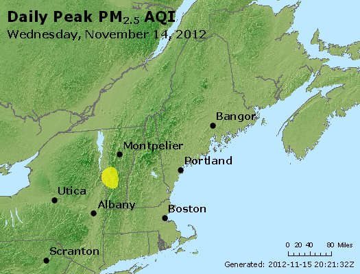Peak Particles PM<sub>2.5</sub> (24-hour) - http://files.airnowtech.org/airnow/2012/20121114/peak_pm25_vt_nh_ma_ct_ri_me.jpg