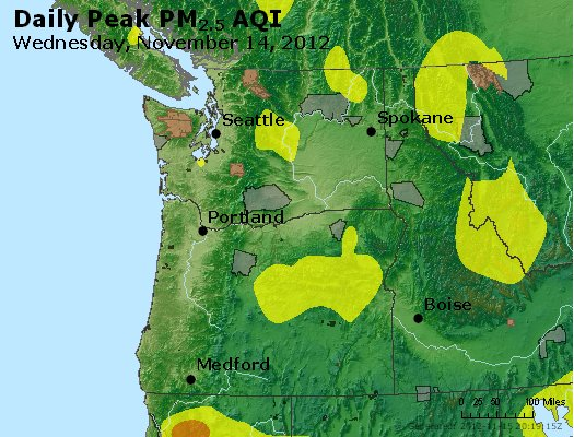 Peak Particles PM<sub>2.5</sub> (24-hour) - http://files.airnowtech.org/airnow/2012/20121114/peak_pm25_wa_or.jpg