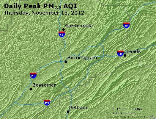 Peak Particles PM<sub>2.5</sub> (24-hour) - http://files.airnowtech.org/airnow/2012/20121115/peak_pm25_birmingham_al.jpg