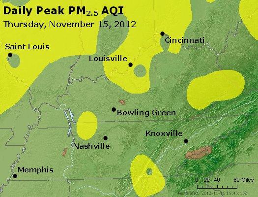 Peak Particles PM<sub>2.5</sub> (24-hour) - http://files.airnowtech.org/airnow/2012/20121115/peak_pm25_ky_tn.jpg