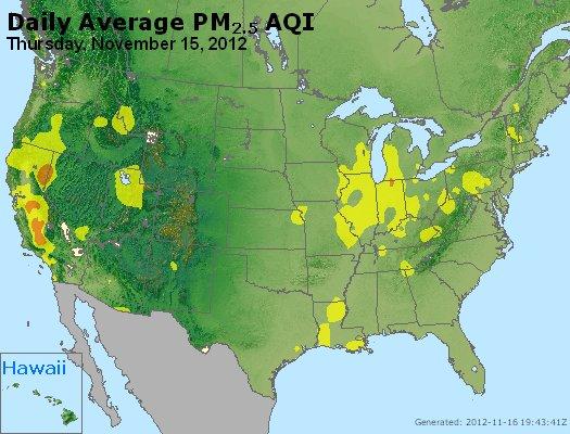 Peak Particles PM<sub>2.5</sub> (24-hour) - http://files.airnowtech.org/airnow/2012/20121115/peak_pm25_usa.jpg