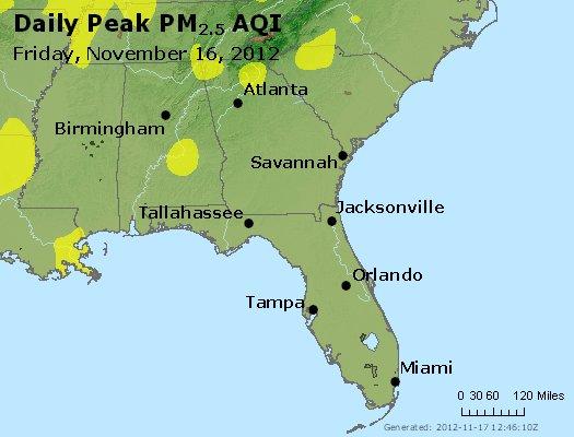 Peak Particles PM<sub>2.5</sub> (24-hour) - http://files.airnowtech.org/airnow/2012/20121116/peak_pm25_al_ga_fl.jpg