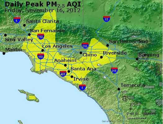 Peak Particles PM<sub>2.5</sub> (24-hour) - http://files.airnowtech.org/airnow/2012/20121116/peak_pm25_losangeles_ca.jpg