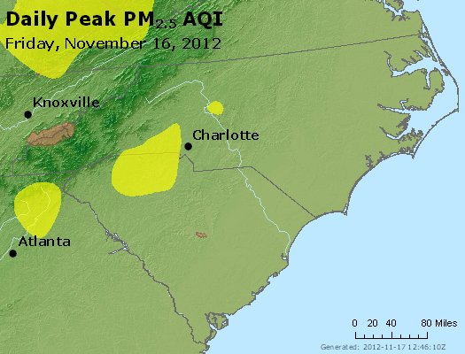 Peak Particles PM<sub>2.5</sub> (24-hour) - http://files.airnowtech.org/airnow/2012/20121116/peak_pm25_nc_sc.jpg