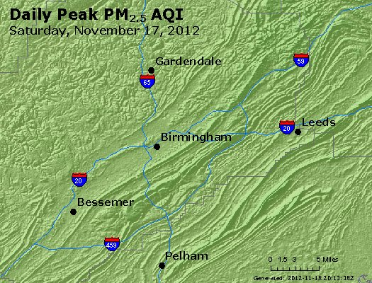 Peak Particles PM<sub>2.5</sub> (24-hour) - http://files.airnowtech.org/airnow/2012/20121117/peak_pm25_birmingham_al.jpg