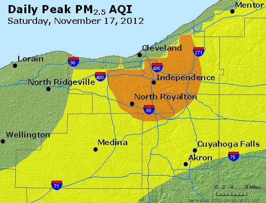 Peak Particles PM<sub>2.5</sub> (24-hour) - http://files.airnowtech.org/airnow/2012/20121117/peak_pm25_cleveland_oh.jpg