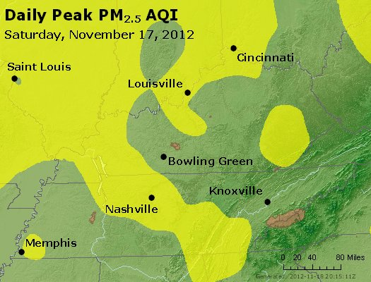 Peak Particles PM<sub>2.5</sub> (24-hour) - http://files.airnowtech.org/airnow/2012/20121117/peak_pm25_ky_tn.jpg
