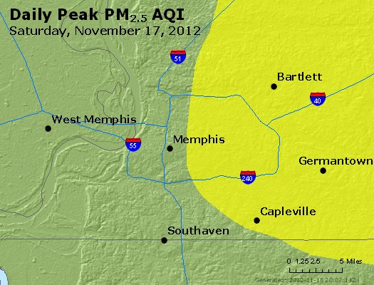 Peak Particles PM<sub>2.5</sub> (24-hour) - http://files.airnowtech.org/airnow/2012/20121117/peak_pm25_memphis_tn.jpg