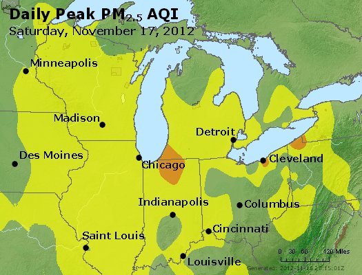 Peak Particles PM<sub>2.5</sub> (24-hour) - http://files.airnowtech.org/airnow/2012/20121117/peak_pm25_mi_in_oh.jpg