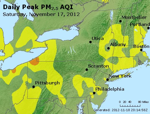 Peak Particles PM<sub>2.5</sub> (24-hour) - http://files.airnowtech.org/airnow/2012/20121117/peak_pm25_ny_pa_nj.jpg