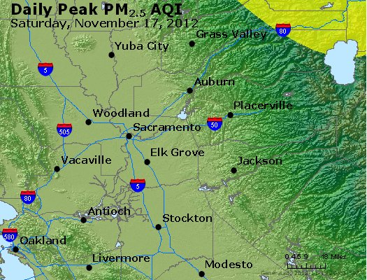 Peak Particles PM<sub>2.5</sub> (24-hour) - http://files.airnowtech.org/airnow/2012/20121117/peak_pm25_sacramento_ca.jpg