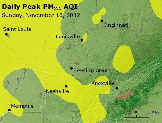 Peak Particles PM<sub>2.5</sub> (24-hour) - http://files.airnowtech.org/airnow/2012/20121118/peak_pm25_ky_tn.jpg
