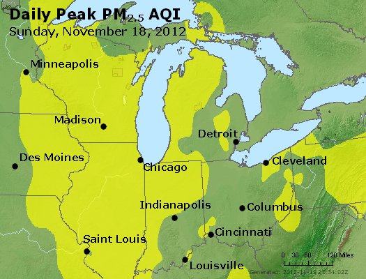 Peak Particles PM<sub>2.5</sub> (24-hour) - http://files.airnowtech.org/airnow/2012/20121118/peak_pm25_mi_in_oh.jpg