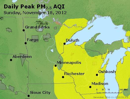 Peak Particles PM<sub>2.5</sub> (24-hour) - http://files.airnowtech.org/airnow/2012/20121118/peak_pm25_mn_wi.jpg