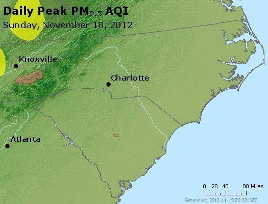 Peak Particles PM<sub>2.5</sub> (24-hour) - http://files.airnowtech.org/airnow/2012/20121118/peak_pm25_nc_sc.jpg