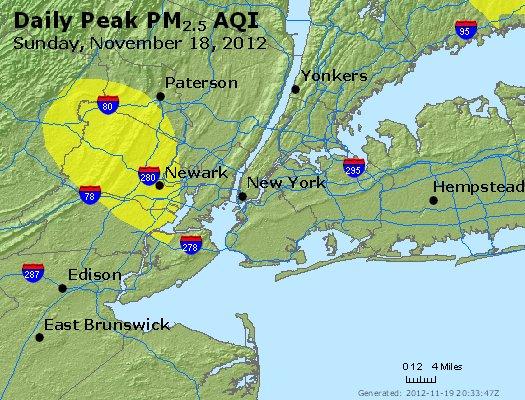 Peak Particles PM<sub>2.5</sub> (24-hour) - http://files.airnowtech.org/airnow/2012/20121118/peak_pm25_newyork_ny.jpg