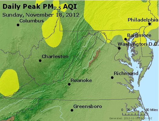 Peak Particles PM<sub>2.5</sub> (24-hour) - http://files.airnowtech.org/airnow/2012/20121118/peak_pm25_va_wv_md_de_dc.jpg
