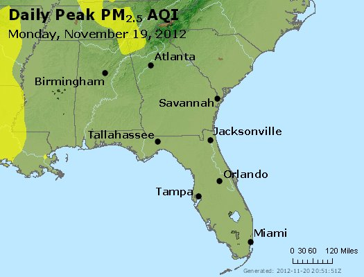 Peak Particles PM<sub>2.5</sub> (24-hour) - http://files.airnowtech.org/airnow/2012/20121119/peak_pm25_al_ga_fl.jpg