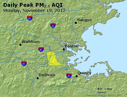 Peak Particles PM<sub>2.5</sub> (24-hour) - http://files.airnowtech.org/airnow/2012/20121119/peak_pm25_boston_ma.jpg