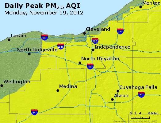 Peak Particles PM<sub>2.5</sub> (24-hour) - http://files.airnowtech.org/airnow/2012/20121119/peak_pm25_cleveland_oh.jpg