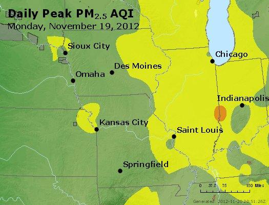 Peak Particles PM<sub>2.5</sub> (24-hour) - http://files.airnowtech.org/airnow/2012/20121119/peak_pm25_ia_il_mo.jpg