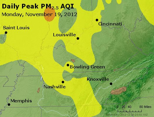 Peak Particles PM<sub>2.5</sub> (24-hour) - http://files.airnowtech.org/airnow/2012/20121119/peak_pm25_ky_tn.jpg