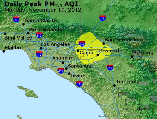 Peak Particles PM<sub>2.5</sub> (24-hour) - http://files.airnowtech.org/airnow/2012/20121119/peak_pm25_losangeles_ca.jpg