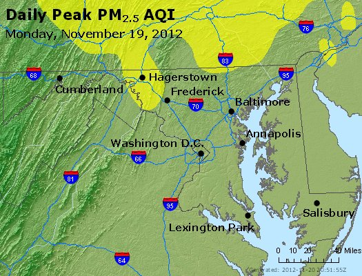 Peak Particles PM<sub>2.5</sub> (24-hour) - http://files.airnowtech.org/airnow/2012/20121119/peak_pm25_maryland.jpg