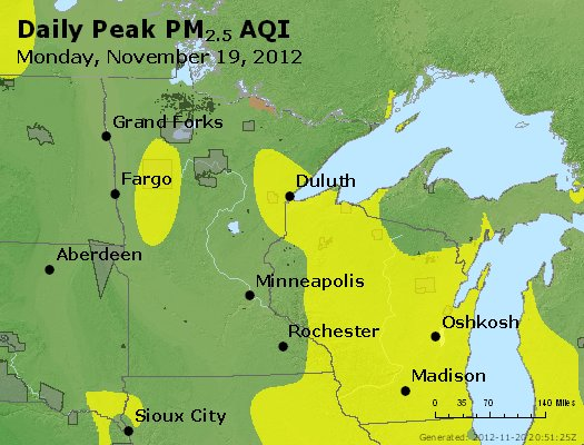 Peak Particles PM<sub>2.5</sub> (24-hour) - http://files.airnowtech.org/airnow/2012/20121119/peak_pm25_mn_wi.jpg