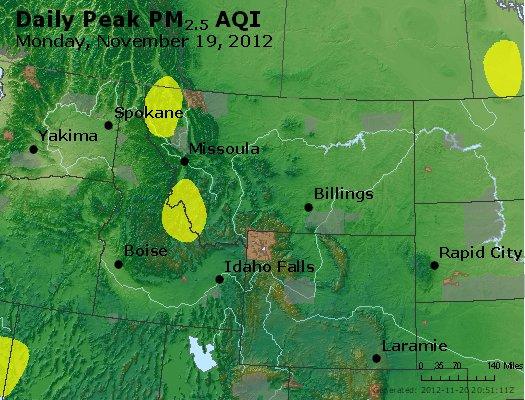 Peak Particles PM<sub>2.5</sub> (24-hour) - http://files.airnowtech.org/airnow/2012/20121119/peak_pm25_mt_id_wy.jpg