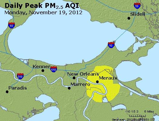 Peak Particles PM<sub>2.5</sub> (24-hour) - http://files.airnowtech.org/airnow/2012/20121119/peak_pm25_neworleans_la.jpg