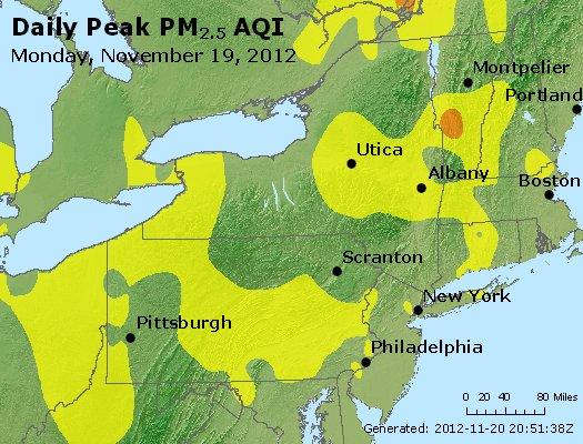Peak Particles PM<sub>2.5</sub> (24-hour) - http://files.airnowtech.org/airnow/2012/20121119/peak_pm25_ny_pa_nj.jpg