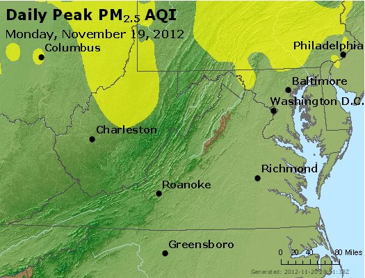 Peak Particles PM<sub>2.5</sub> (24-hour) - http://files.airnowtech.org/airnow/2012/20121119/peak_pm25_va_wv_md_de_dc.jpg