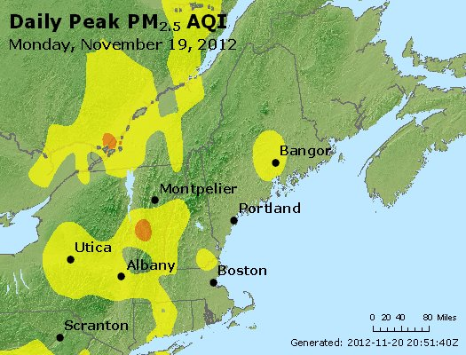 Peak Particles PM<sub>2.5</sub> (24-hour) - http://files.airnowtech.org/airnow/2012/20121119/peak_pm25_vt_nh_ma_ct_ri_me.jpg