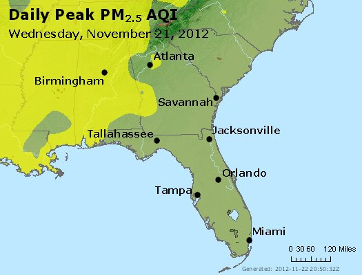 Peak Particles PM<sub>2.5</sub> (24-hour) - http://files.airnowtech.org/airnow/2012/20121121/peak_pm25_al_ga_fl.jpg